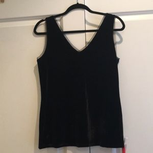 Black velvet top with lace detail
